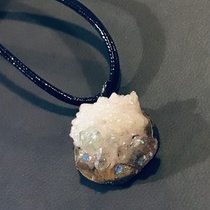 Arkansas quartz cluster iridescent resin pendant